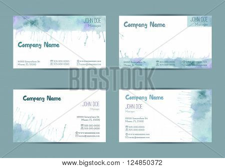Set of hand painted watercolor horizontal business card templates. Colorful pastel abstract blue and green brush stocks and splashes on a white background. Complied with the standard size.