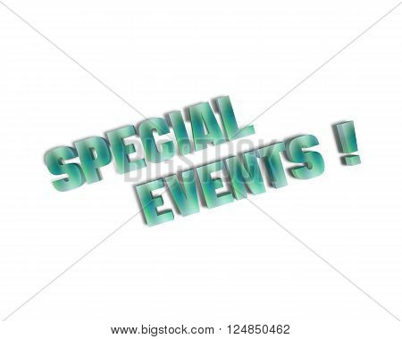 Special Events 3d word with reflection and shadows