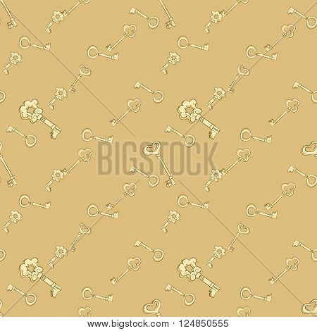 Seamless keys pattern. Gold vintage keys. Digital or Wrapping Paper
