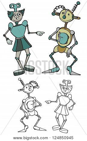 cartoon robot friends, with black outline versions.