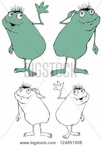 Friendly beastie cartoon character in two poses