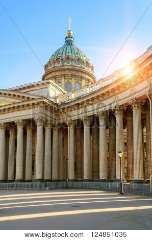 Kazan Cathedral in St. Petersburg Russia at the sunset with sunshine breaking throught the balustrade. Soft focus processing