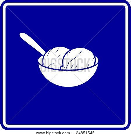 ice cream bowl with spoon sign