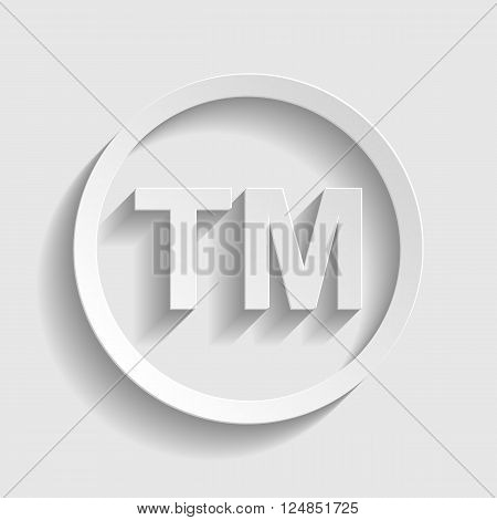 Trade mark sign. Paper style icon with shadow on gray.