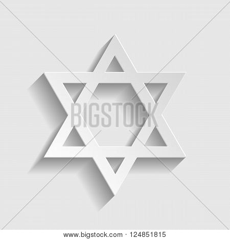 Star. Shield Magen David. Symbol of Israel on transparent background. Paper style icon with shadow on gray.
