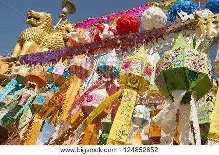 lanterns at the Wat Lokmoli Temple at the Loy Krathong Festival in the city of Chiang Mai in North Thailand in Thailand in southeastasia.