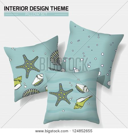 Decorative nautical throw pillow set design template with sea shells & bubbles. Modern Interior design element. Creative Sofa Toss Pillow. Vector design template is layered editable.