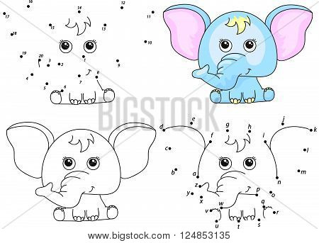 Cartoon Elephant. Coloring Book And Dot To Dot Game For Kids