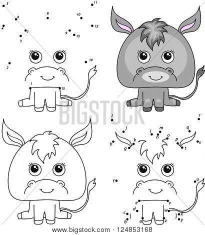 Cartoon Donkey. Coloring Book And Dot To Dot Game For Kids