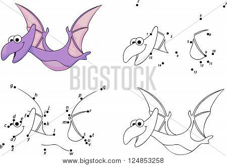 Cartoon Pterodactyl. Coloring Book And Dot To Dot Game For Kids