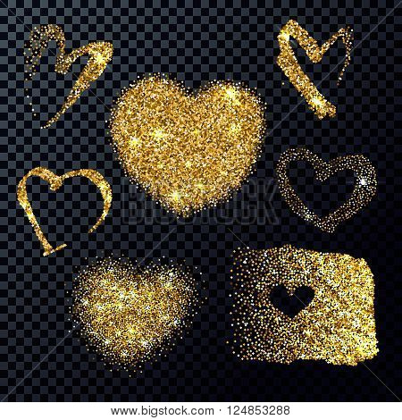 Golden heart shapes. Desing elements for greeting card, wedding, save the date.