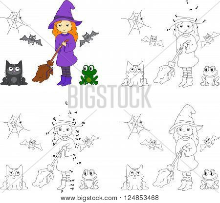 Pretty Friendly Witch With A Broomstick, Bats, Black Cat And Frog. Coloring Book And Dot To Dot Game