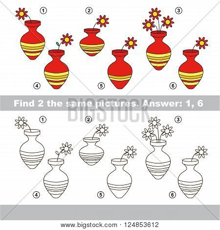 The design difference.  Vector visual game for children. Task and answer. Find two similar Vases