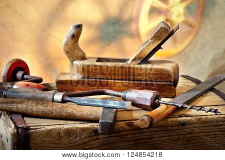 still life with old used carpentry tools