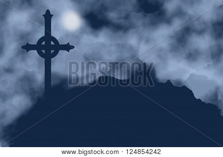 Cross silhouette and moon on a foggy night. Melancholic background