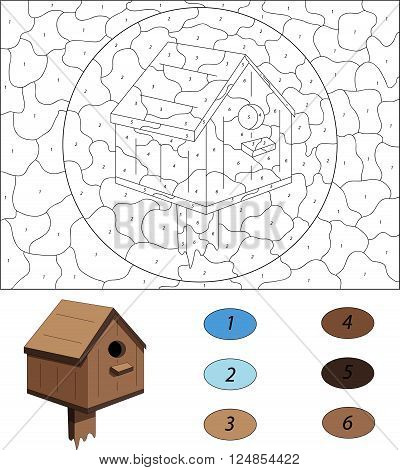 Cartoon Nesting Box. Color By Number Educational Game For Kids