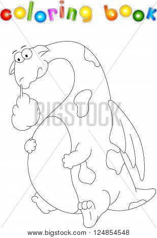 Funny Cartoon Dragon Isolated On White. Coloring Book For Kids