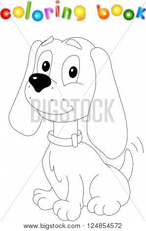 Funny Cartoon Dog. Coloring Book For Kids