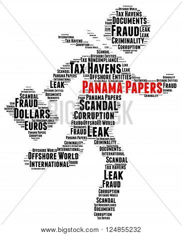 Panama papers scandal word cloud concept illustration