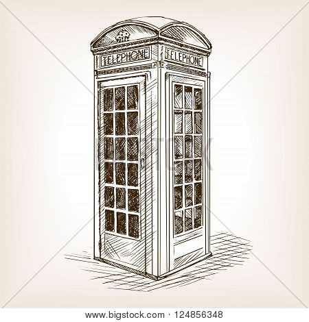Vintage London phone booth sketch style vector illustration. Old hand drawn engraving imitation. Vintage object illustration