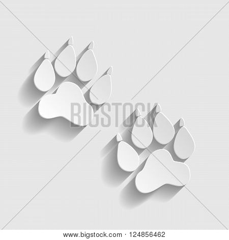 Animal Tracks sign. Paper style icon with shadow on gray.