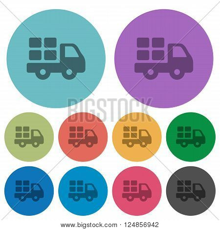 Color transport flat icon set on round background.
