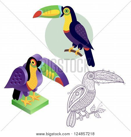 Bird toucan. Flat icon template for adult coloring isometric view. Set of vector birds in different unusual style. Illustration collection of images birds isolated on white background.