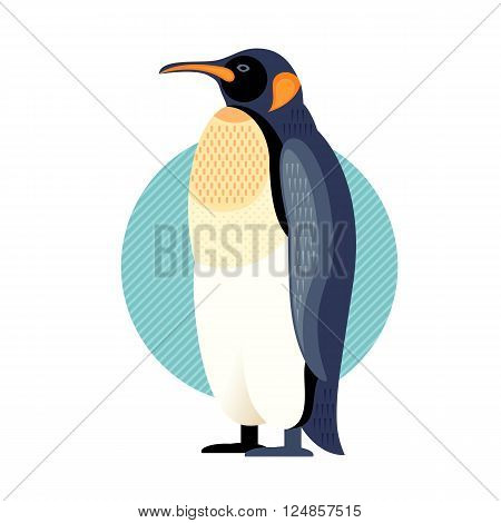 Penguin. Vector image of a flat figure bird. Simplified design of bird from the wild. Graphic illustration of colored exotic bird isolated on white background. Water bird.