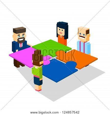 Business People Group Make Puzzle Solve Solution Teamwork Concept 3d Isometric Flat Design Vector Illustration