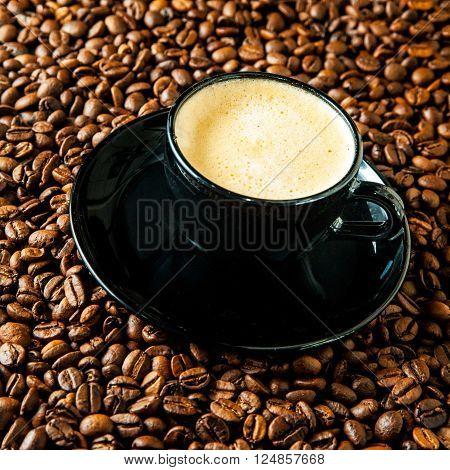 Cup Of Coffee Espresso.cup Of Coffee Espresso With Foam, Roasted Coffee Beans On Background.coffee,