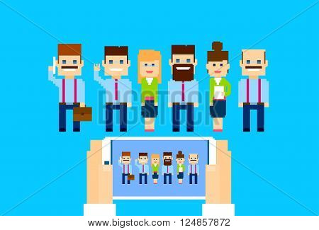 Businesspeople Group Hands Hold Cell Smart Phone Internet Conference Business People Team Vector Illustration