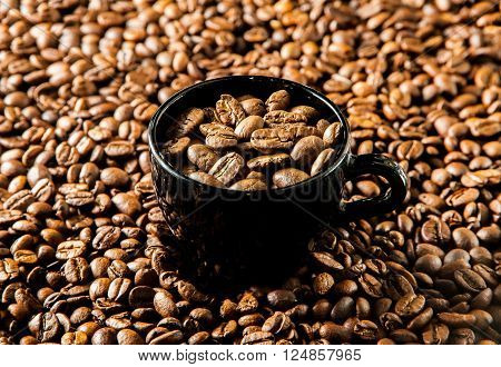 Roasted Coffee In Cup.