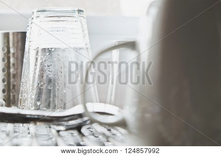 close up image of Washing dishes background