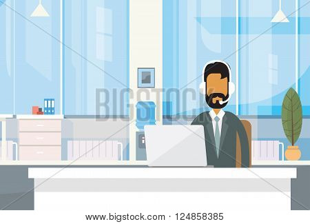 Support Indian Business Man Sitting Desk India Businessman Office Working Place Laptop Online Flat Vector Illustration
