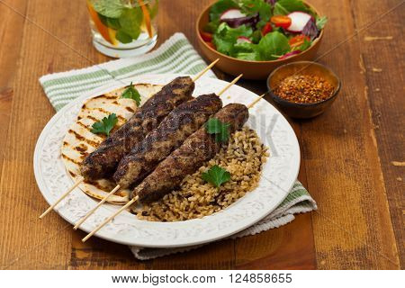 Homemade Grilled Ground Lamb Kebabs. Selective focus.