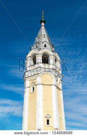 Bell tower of Resurrection Cathedral in a Tutaev, Russia. Golden Ring Travel