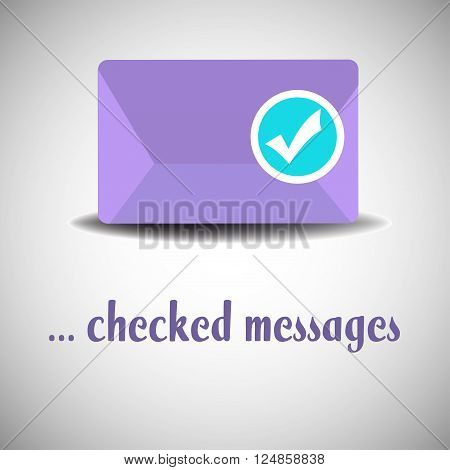Isolated purple envelope with a rounded checked sign. Checked messages concept