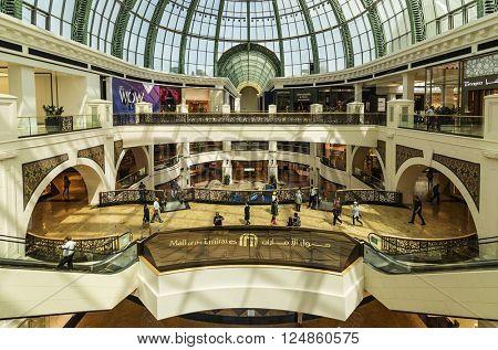 DUBAI, UAE - MARCH 10: Interior of the Mall of the Emirates on March 10, 2016 in Dubai. Mall of the Emirates is a shopping mall in the Al Barsha district of Dubai.