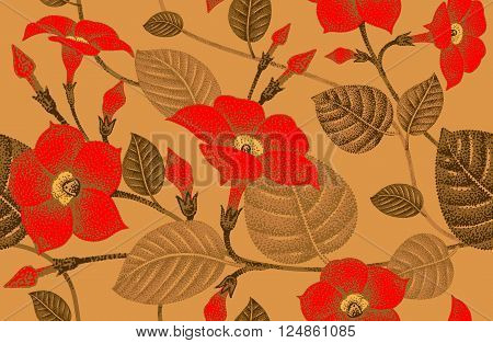 Climbing plant ivy. Vector seamless floral pattern. Garden flower bindweed. Flower Illustration - template design luxury packaging textile paper. Red flowers branches leaves on gold background.