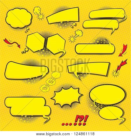 BLANK Comic speech bubbles set design for comic background