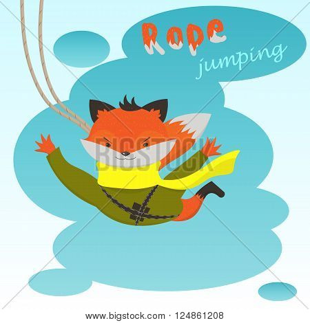 Ropejumping: cute cartoon Fox jumping with a rope on a background of clouds