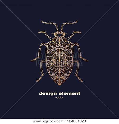 Vector design element - beetle. Icon decorative insect isolated on black background. Modern decorative illustration insect. Template for logo emblem sign poster. Concept of gold foil print.