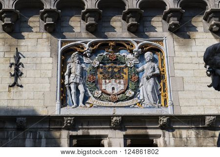 Belgium,Antwerp, March 17, 2016,Coat of arms of the city of Antwerp above the gate of the Steen castle