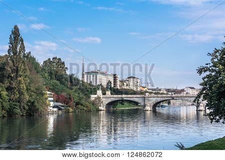Turin,Italy,Europe - October 17, 2014 : The bridge Umberto I over the Po River in Turin