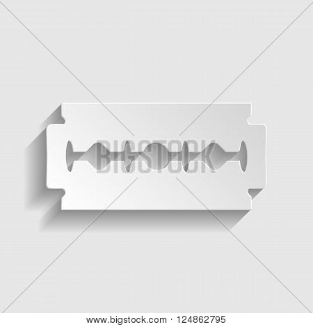 Razor blade sign. Paper style icon with shadow on gray.