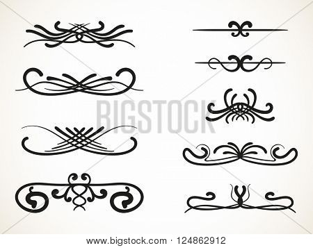 Ornamental calligraphic line page decoration, Vector design element set