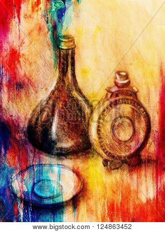 Drawing flask and wine carafe on paper. Original hand draw and Color effect