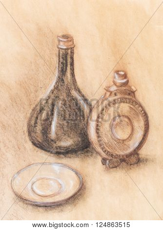 Drawing flask and wine carafe on paper. Original hand draw