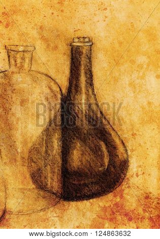 Drawing Carafe on vine. Original hand draw