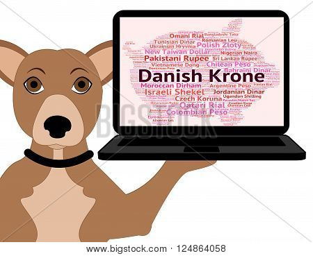 Danish Krone Represents Currency Exchange And Banknotes